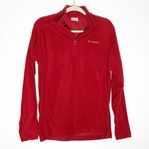 Columbia Fleece Pullover Womens Small Red 1/4 Zip